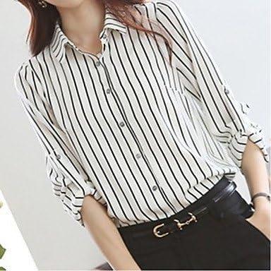 Mujer Camisas y blusas de mujer diseño de rayas color blanco blusa, camisa manga larga, color Blanco - blanco, tamaño S: Amazon.es: Deportes y aire libre