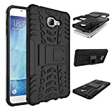 For Samsung Galaxy A9 Pro (2016) : CASSIEY Hard Hybrid Armour Rubber Bumper Kick Stand Back Case Cover For Samsung Galaxy A9 Pro (2016) - Black
