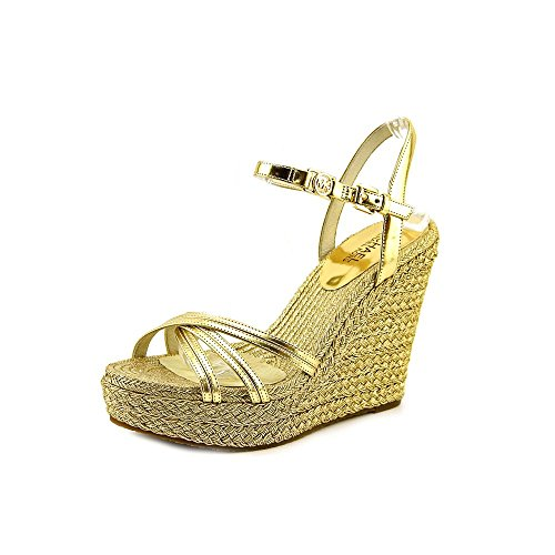 Michael Kors Cicely Ankle Strap Womens Size 8 Gold Leather Wedge Sandals Shoes
