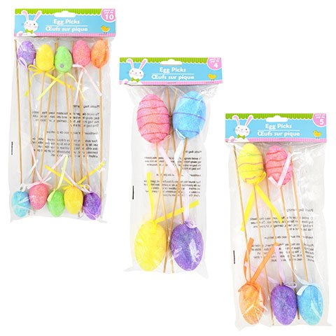 Easter 3 Pack Assorted Glittery Colorful Foam Egg Floral Picks For Baskets, Floral Arrangements, Decorations, Crafts and More
