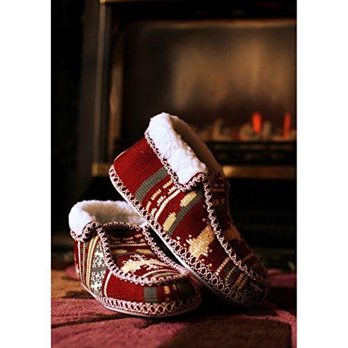 Divaz Damen Norway Slipper Hüttenschuhe Hausschuhe Pantoffeln Stiefel Schuhe Rot
