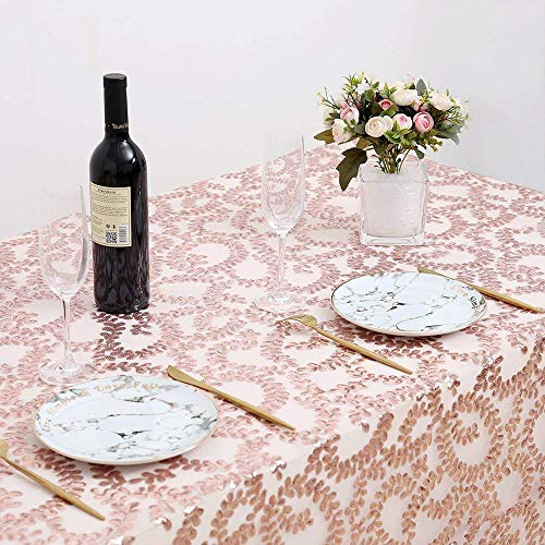 B-COOL Rectangle Sequin Tablecloth Rose Gold Flower Sparkle Sequin Linen for Wedding/Party/Banquet/New Year/Birthday 50