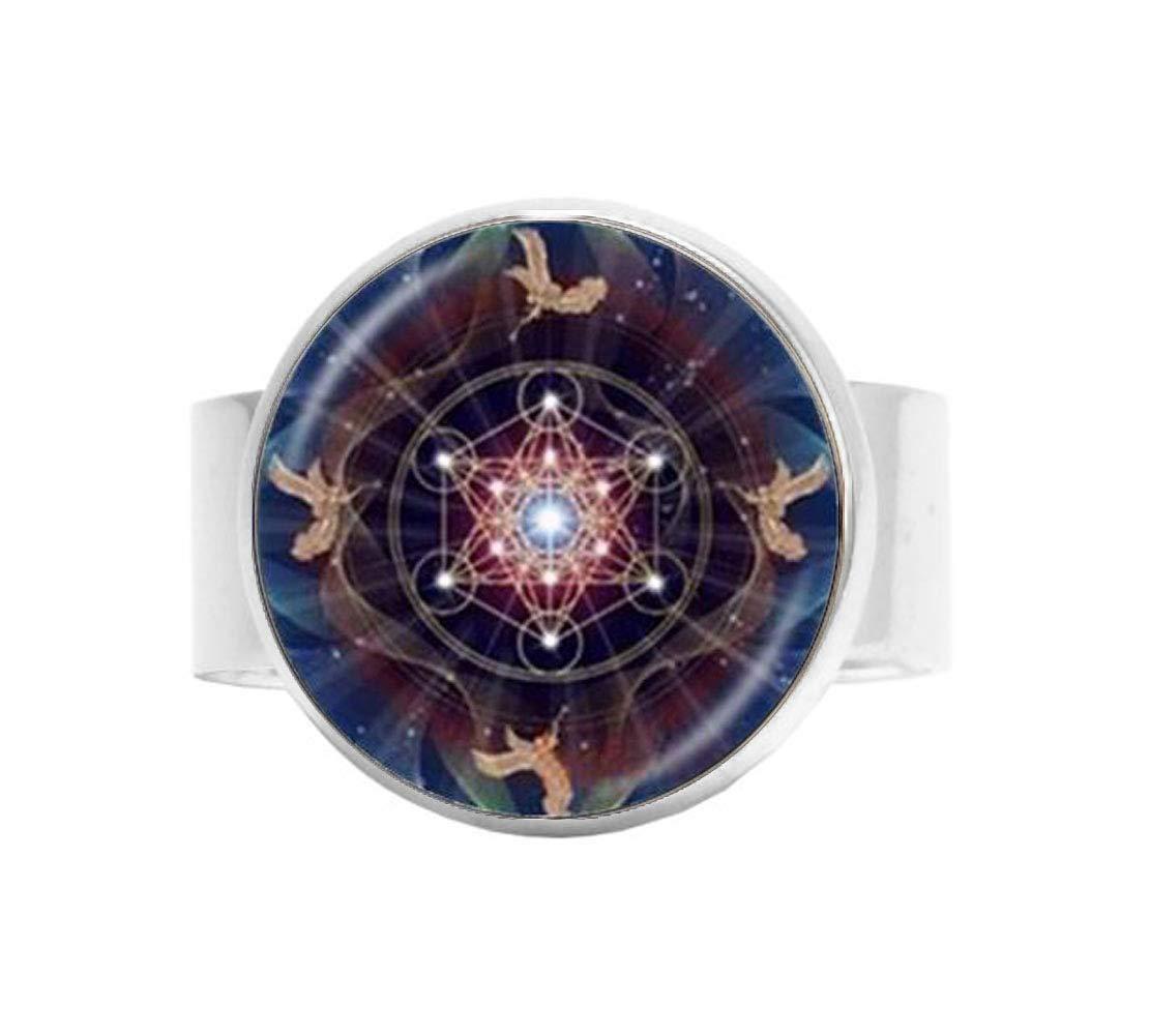 Anillo de hexagrama hecho a mano con diseño de flor de la vida ...