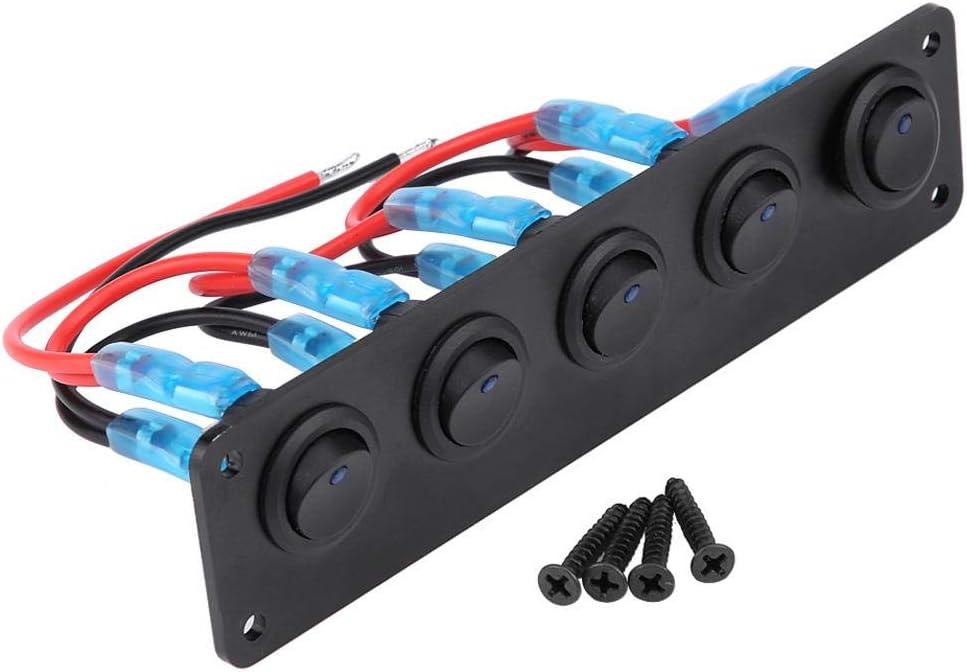 Panel de interruptor de palanca, 12-24V 5 Gang Round Dash Panel de interruptor de palanca Panel LED azul para Boat Yacht Marine