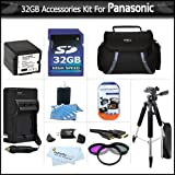 32GB Kit For Panasonic HDC-TM700K HDC-HS700K HDC-SDT750K HDC-SD600 Camcorder Includes 32GB High Speed SD Memory Card + EXTENDED (3000Mah) Replacement Panasonic VW-VBG260 Battery + AC/DC Charger + 3pc Filter Kit + Case + 57'' Tripod + HDMI Cable + More