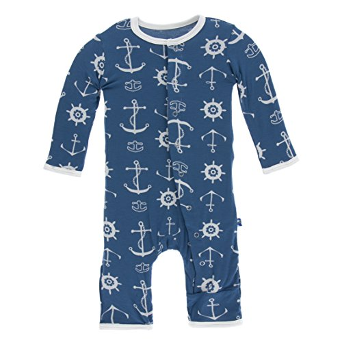 KicKee Pants Little Boys Print Coverall with Snaps - Twilight Anchor, 6-9 Months