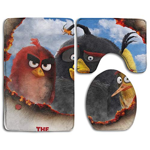 The Angry Birds 3 PCs Mat Set Toilet Rugs Non-Slip Bathroom Carpets Home Decor (Angry Birds Bath Rug)