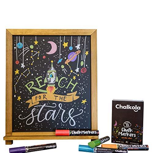 Metallic Chalk Markers - Pack of 10 Liquid Chalk Pens - for Chalkboard, Blackboard, Cafe Menu, Business, Window - Wet Wipe Erasable - 6mm Reversible Bullet & Chisel Tip by Chalkola (Image #5)
