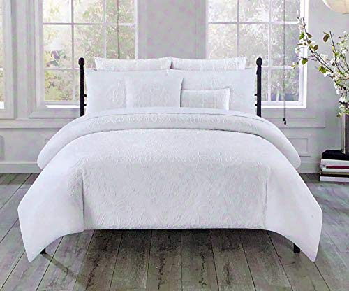 Tahari Home 3pc Duvet Cover Set Raised Embroidered Floral Geometric Pattern Flowers in White Thread on White (King)