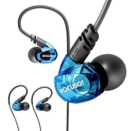 ROCUSO Earbud Headphones with Microphone, Over Ear Waterproof Earbuds Stereo Bass Musician In Ear Monitor, Sport Earphones for Running, Gym and Workout,Blue