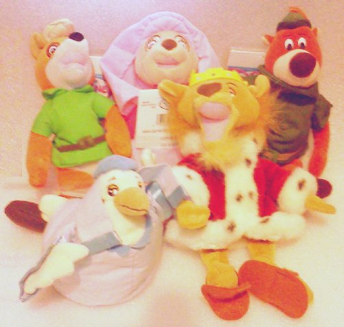 (Out of Production Disney Robin Hood Plush Bean Bag Set with Robin Hood, Maid Marian, Lady Kluck, Prince John, and Little John)