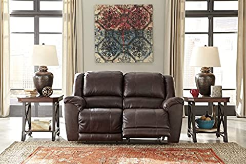 Yancy Contemporary Leather Walnut Color Reclining Power Loveseat - Over Dual Reclining Loveseat