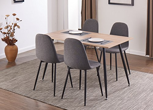 EBS Dining Side Chairs Set of 4 Fabric Cushion Side Chairs with Sturdy Metal Legs for Dining Room Living Room Home Office, Grey
