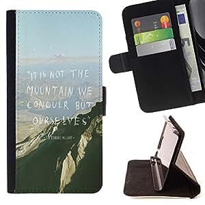 BullDog Case - FOR/HTC Desire 820 / - / mountain conquer high inspiring motivational /- Monedero de cuero de la PU Llevar cubierta de la caja con el ID Credit Card Slots Flip funda de cuer