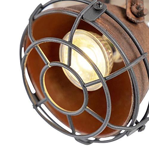 Gina// 2-flammig//Innenbeleuchtung//Wohnzimmerlampe//Schla QAZQA Industrie//Industrial Robuster Spot//Spotlight//Deckenspot//Deckenstrahler//Strahler//Lampe//Leuchte rost mit Holzaufh/ängung