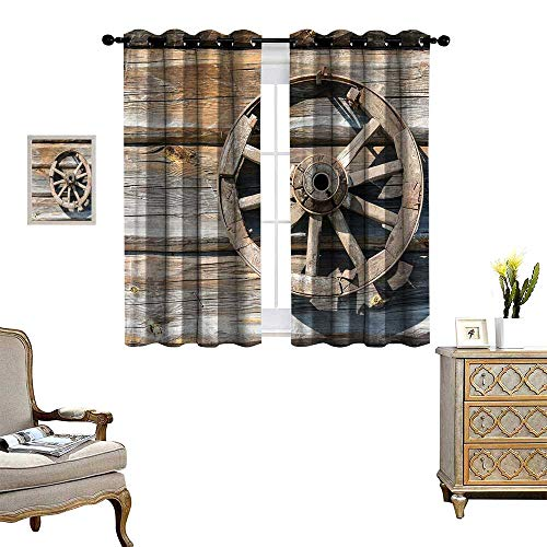 homehot Barn Wood Wagon Wheel Window Curtain Fabric Old Log Wall with Cartwheel Telega Rural Countryside Themed Image Drapes for Living Room Umber Beige