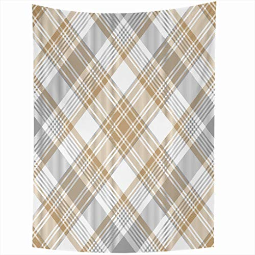 Ahawoso Tapestry 60x80 Inch Tartan Beige Simple Platinum Gold Diagonal Pattern White Abstract Plaid Gray Check Checkered Classic Cross Wall Hanging Home Decor for Living Room Bedroom Dorm