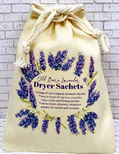 (Dryer Sachets, Lavender Dryer Sachets in Decorative Bags, Natural Earth Friendly Laundry Care, Aromatherapy, 1 Bag of 3 Sachets)