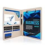 AHGXG Padfolio/Resume Portfolio Folder - Interview/Legal Document Organizer & Business Card Holder - with Letter-Sized Writing Pad Professional Gift for Business, Interview, Resume - Silver