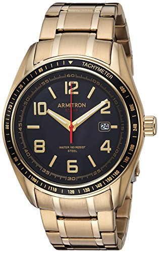 Armitron Men's 20/5252BKGP Solar Powered Date Calendar Dial Gold-Tone Bracelet Watch