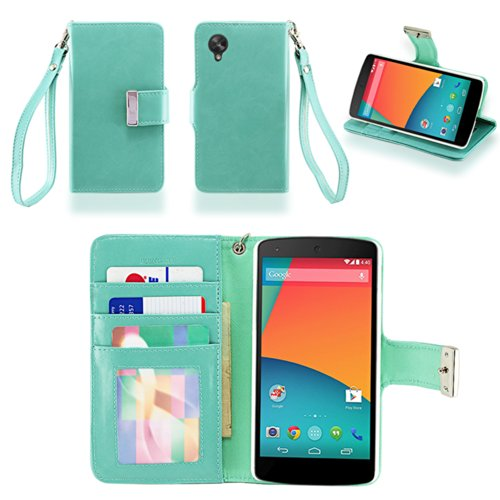IZENGATE Executive Premium PU Leather Wallet Flip Case Cover Folio Stand for LG Google Nexus 5 (Mint)