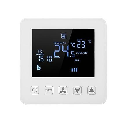 Decdeal Programable Termostato de Aire Acondicionado 2 Tubos 4 Tubos Controlador de Temperatura LCD Táctil Pantalla