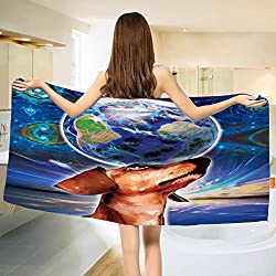 Animal Bath towel Cute Adorable Dog Holding Earth on his Head Nose with Paisley Like Design Backdrop Cotton Beach Towel Multicolor (55x28)