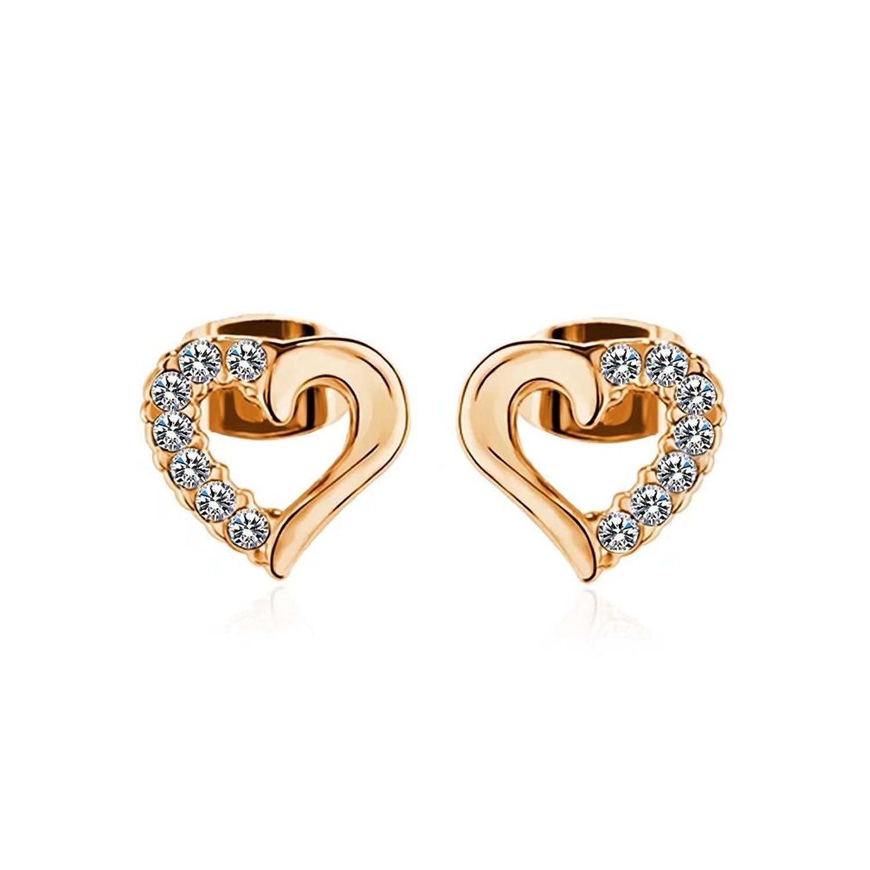 Amazon FENDINA Gold Plated Stainless Steel Open Heart Stud