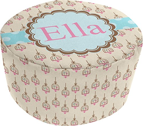 Kissing Birds Round Pouf Ottoman (Personalized) by RNK Shops
