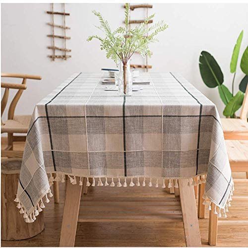 (VIMOO Embroidery Checkered Tassel Tablecloth, Heavy Weight Cotton Linen Plaid Washable Table Cover Kitchen Wedding Restaurant Party Picnic Use (Gray&White, Rectangle,55x102 inch))