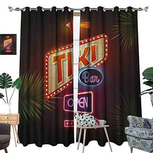 Warm Family Tiki Bar Waterproof Window Curtain Old Fashioned Neon Signs Illustration of Open Bar Palm Tree Branches Roadside Blackout Draperies for Bedroom W96 x L108 Multicolor