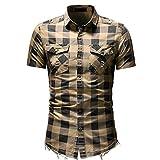 one direction baseball tee - Sagton® T-Shirt for Mens, Men's Slim Fit Button Plaid Shirt with Pocket Short Sleeve (XL, Beige)