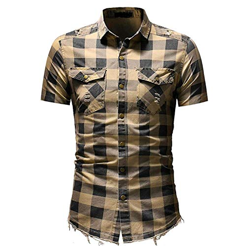 Sagton® T-Shirt for Mens, Men's Slim Fit Button Plaid Shirt with Pocket Short Sleeve (XL, Beige) -