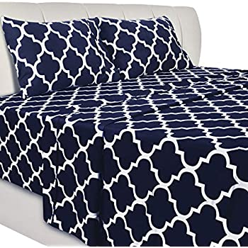 Utopia Bedding Printed Bed Sheet Set - 4 Piece Microfiber Bedsheet Set (Full, Navy)