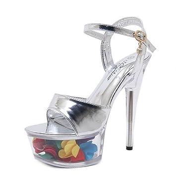 347842bd654 Women s Shoes 2018 Summer New Fashion Sandals Sexy Super High Heels 15CM  Fine Heel Ladies Waterproof