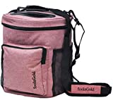 foolsGold Pro Easy Carry Dual Slot Knitting Bag for Wool and Yarn with 2 Organiser Sections and Zip Pocket - Rose Pink