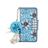 Gostyle Samsung Galaxy S6 Edge Plus Leather Wallet Case,Fashionable Women Handbag Case with Chian,Luxury Blue Flowers Pattern PU Flip Magnetic Case with Credit Card Holder and Wristlet Strap.