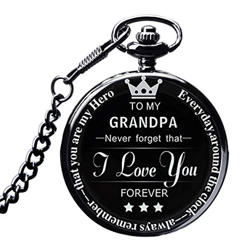 LibbyPet Pocket Watch to My Grand Son Pocket Watch to Grandson Gifts from a Grandpa, Grandma (Black Watch, to My Grandpa)