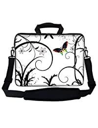 "Meffort Inc 17 17.3 Inch Neoprene Laptop Bag Sleeve with Extra Side Pocket, Soft Carrying Handle & Removable Shoulder Strap for 16"" to 17.3"" Size Notebook Computer - White Swirl Design"
