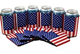 Neoprene Can Cooler Sleeve Collapsible Coolie Economy Bulk Insulation with Stitches Perfect 4 Events,Custom DIY Projects Variety of Colors (6, USA Flag)