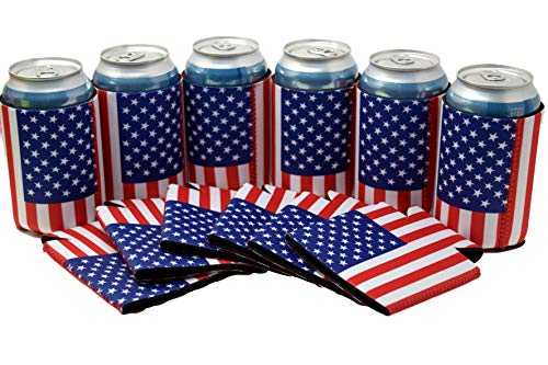 Neoprene Can Cooler Sleeve Collapsible Coolie Economy Bulk Insulation with Stitches Perfect 4 Events,Custom DIY Projects Variety of Colors (6, USA Flag) by QualityPerfection