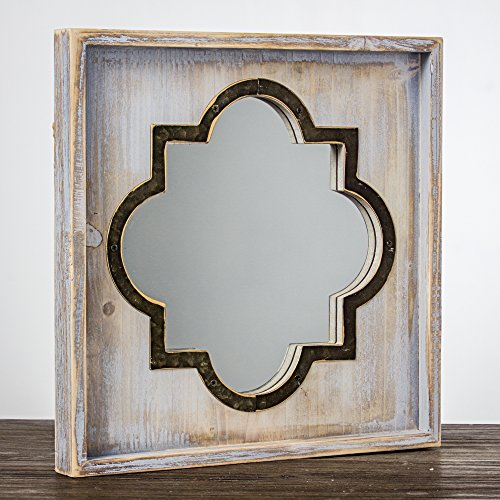 Crystal Art Whitewashed Rustic Wood & Metal Vanity Mirror (Square), Farmhouse Wall Décor, Multicolor by Crystal Art (Image #4)