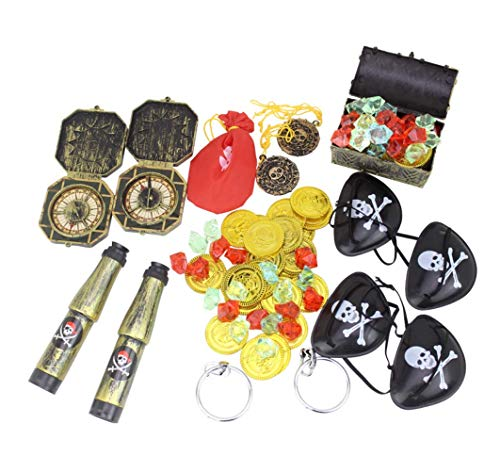 Astra Gourmet 60pcs Pirate Party Favors - Plastic Fake Coins, Treasure Chest, Telescopes, Eye Patches, Compass Gems, Earrings for Halloween, Carnival Prizes, Pirate Theme Birthday Party Decoration