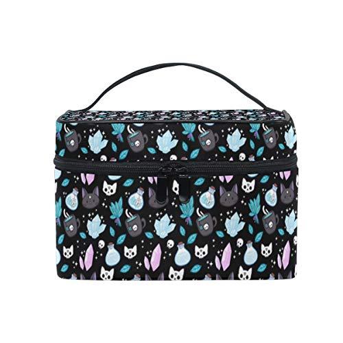 QIAOSHENG Cat Diamond Teacup Skull Travel Cosmetic Bag Makeup Bag Cosmetic Case Toiletry Organizer For Women Girl ()