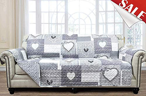 Large Patchwork Sofa Protector Slipcover 78 Inch Heart Love Pet Dog 3 Seat Couch Furniture Cover Print Reversible Quilted Layers, Strap, Machine Wash Arm Chair Slip Cover, Grey/White (And Sofa Chair Grey)