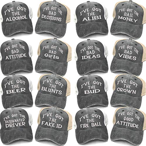 I've Got The Alcohol Bad Decisions Adult Custom Distressed Trucker Hats Men's Women's Embroidered Baseball Cap (Rock N Roll)