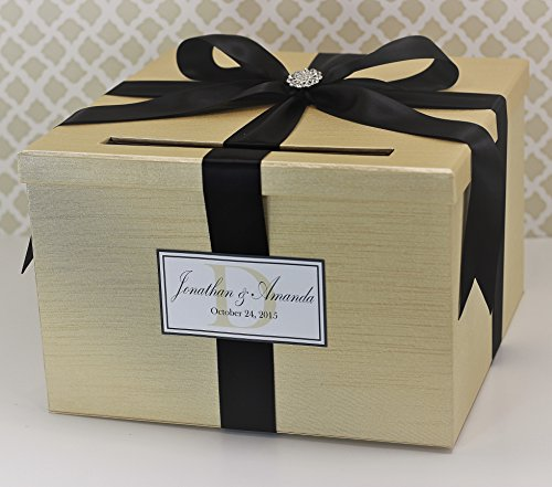 Wedding Card Holder Box Champagne Gold and Black Classic Customizable