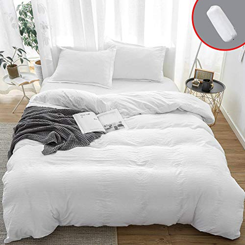 3-Piece 100% Washed Cotton Duvet Cover, Ultra Soft Duvet Cover Set, Breathable Duvet Cover with Zipper Closure, Easy Care Bedding Sets (Queen, White)