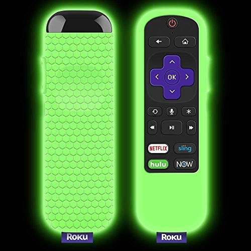 3 Pack Protective Case for TCL Roku TV Steaming Stick 3600R/3800/3900 Remote, Silicone Cover Roku Voice/Express/Premiere Remote Controller Skin, Replacement Sleeve Protector-Glow Green,Glow Blue,Red
