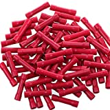 AIRIC 100pcs Butt Splice Crimp Connectors, Red 22-16 Gauge Vinyl Fully Insulated PVC Wire Cable Butt Splice Connectors